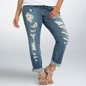 Torrid Stretch Distressed Boyfriend Jeans 12R